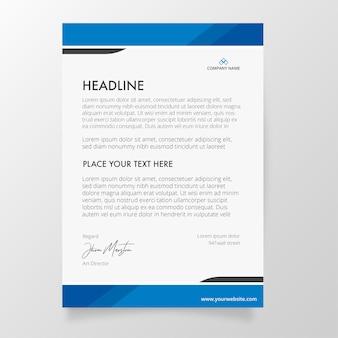 Briefpapier sjabloon met blauwe kleuren