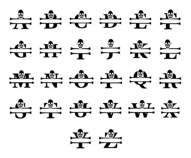 Brieven en schedel monogram set. vector typografie ontwerp.