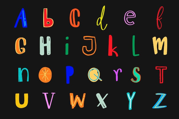 Brieven vector lettertype doodle kleurrijke stijlenset