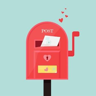 Brievenbus met envelop erin. leuke illustratie in vlakke stijl, sjabloon voor valentijnsdag
