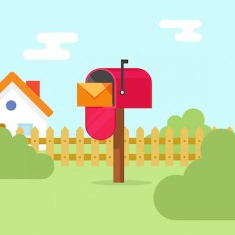 Brievenbus met van de brievenenvelop en huis landschaps vectorillustratie