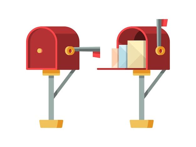 Brievenbus openen. post brievenbus met enveloppen vector geïsoleerde containers. containerpost voor post en envelop, brievenbus voor correspondentieillustratie