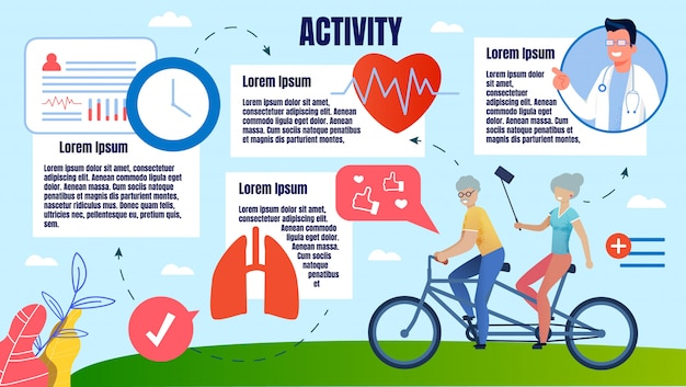 Bright banner fysieke activiteit mensen op oudere leeftijd.