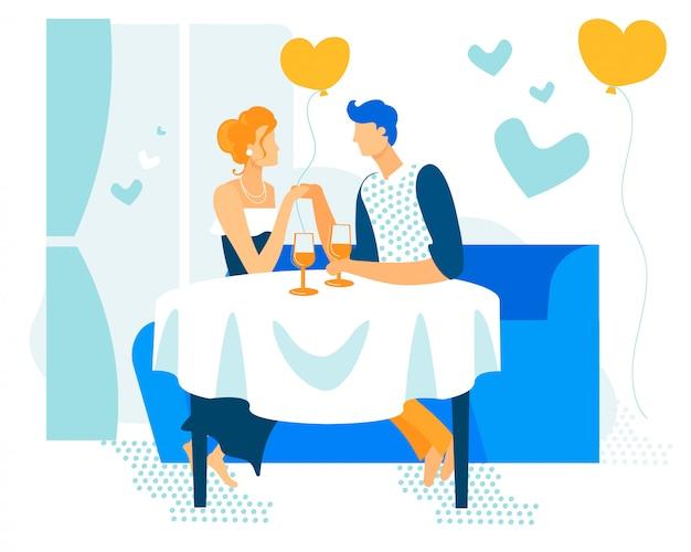 Bright banner paar in platte cartoon liefdesgebeurtenis.