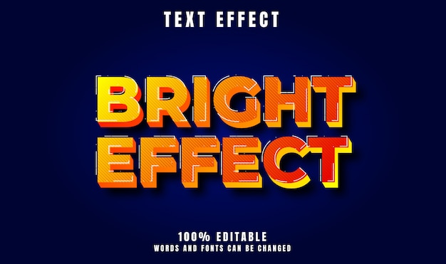 Bright effect text 3d modern style effect