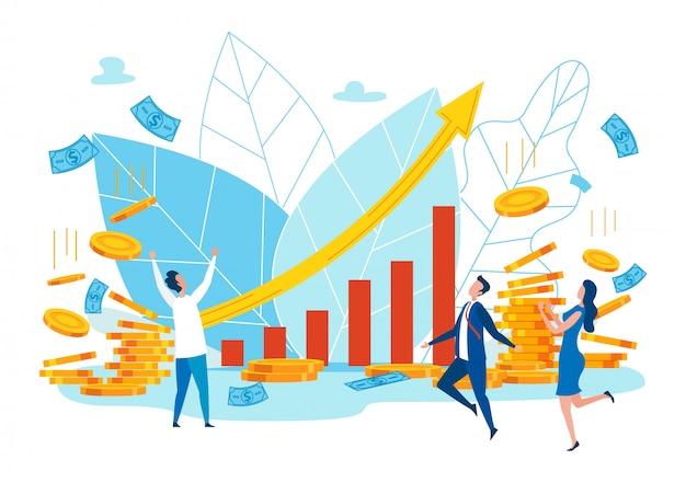 Bright flyer financiële groei cijfers cartoon.