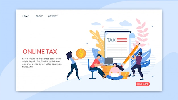 Bright flyer inscriptie online belasting cartoon plat.