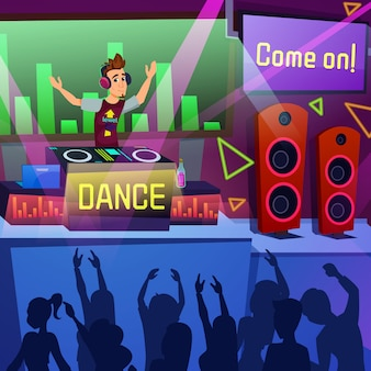 Bright flyer performance party dance cartoon. openingsweekend op summer terrace dance club.