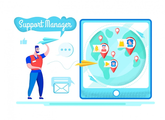 Bright flyer support manager belettering cartoon.