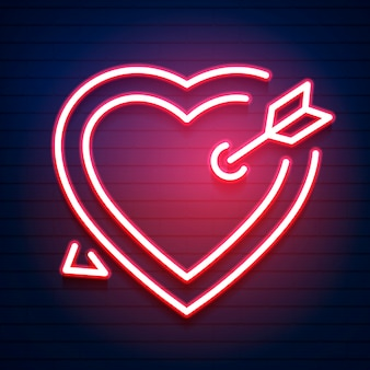 Bright heart. neon bord. retro neon hart teken.