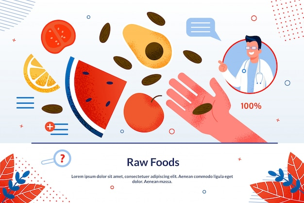Bright inscriptie rauw voedsel cartoon plat.