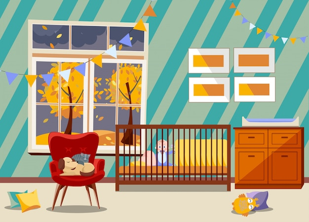 Bright pasgeboren kind kinderkamer interieur, slaapkamer meubels. kinderkamer met speelgoed, fauteuil met slapende kat en hond.