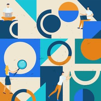 Bright poster zoeken naar ideeënpatroon