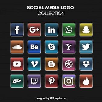 Bright social media logo collectie