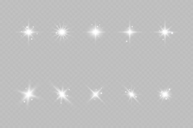 Bright sun burst shining star zonnestralen geïsoleerd op transparante achtergrond