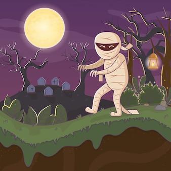 Brij die in de begraafplaats halloween loopt