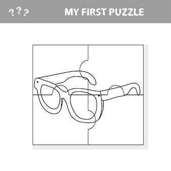 Bril. educatief papierspel voor kleuters. vector illustratie. mijn eerste puzzel- en kleurboek