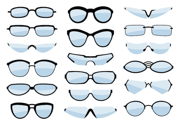 Bril lijntekeningen silhouet, brillen en optische accessoires.