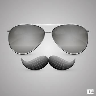 Bril met een snor-object. vector illustratie kunst 10eps