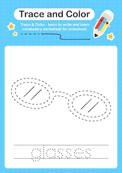Bril-tracering en kleurtraceerwerkblad voor kinderen voor het oefenen van fijne motoriek