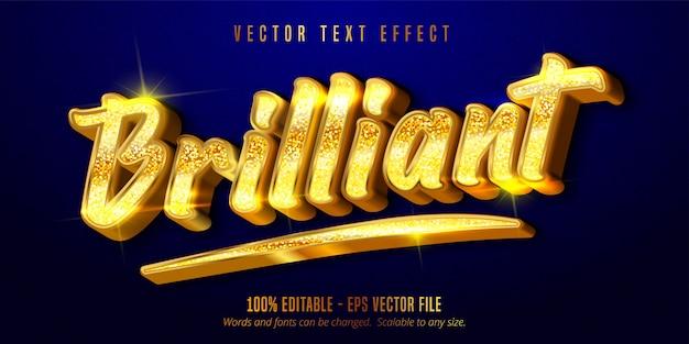 Briljante tekst, glanzend bewerkbaar teksteffect in gouden stijl