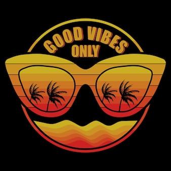Brillen met palmbomen weerspiegeld en good vibes only belettering illustratie op zwarte achtergrond Premium Vector