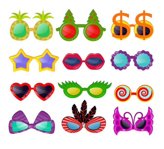 Brillen vector cartoon brillen zonnebril in hart ster grappige vorm voor feest