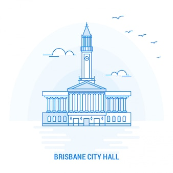 Brisbane city hall blue landmark