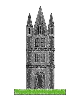 Brits kasteel toren pictogram vector illustratie ontwerp