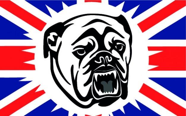 Britse buldog met vlag