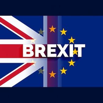 Britse en europese vlag met brexit tekst