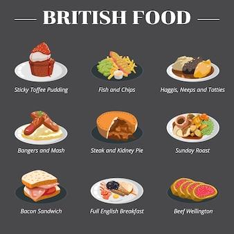 Britse engelse voedsel vastgestelde inzameling clipart