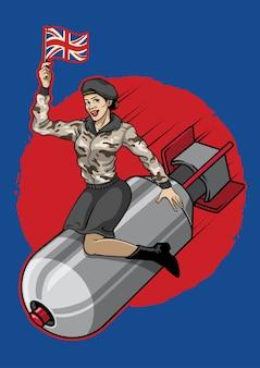 Britse pin-up girl rijdt op een atoombom