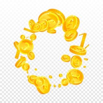 Britse pond munten vallen. emotionele verspreide gbp-munten. verenigd koninkrijk geld. creatief jackpot-, rijkdom- of succesconcept. vector illustratie.