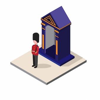 Britse soldaat, engeland, uk man dragen leger uniforme patrouille in post isometrische illustratie