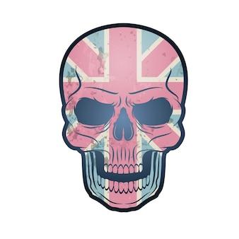 Britse union jack-vlag met schedel.