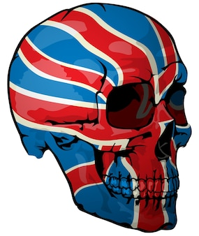 Britse vlag geschilderd op een schedel
