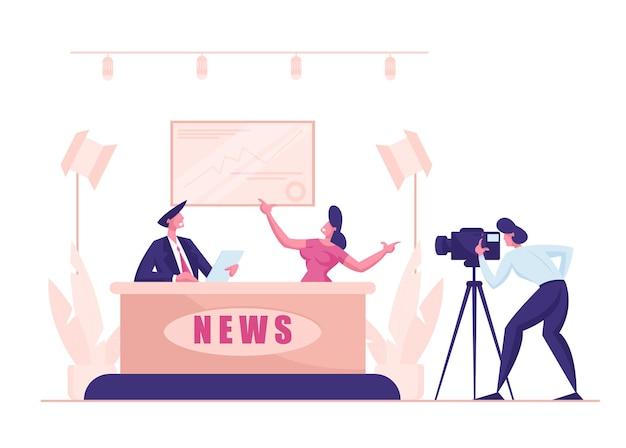 Broadcasting productiestudio massamedia televisie met man en vrouw