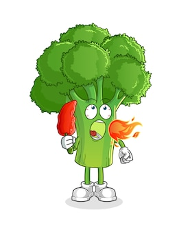 Broccoli eet hete chili-mascotte. tekenfilm