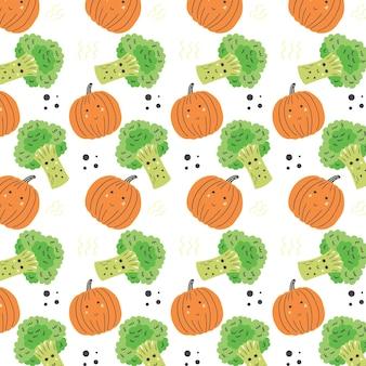 Broccoli en pompoenpatroon. plantaardige naadloze oranje groene vector achtergrond