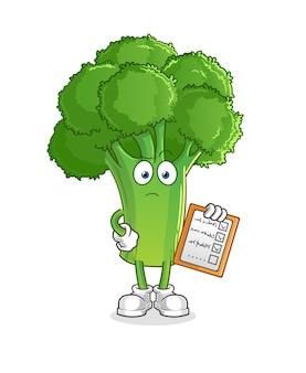 Broccoli schema lijst. stripfiguur