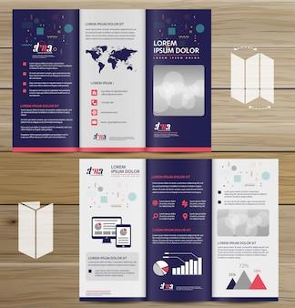 Brochure bedrijf tri vouw leaflet flyer vector ontwerp