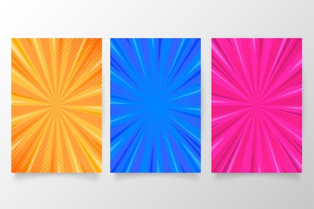 Brochure collectie in kleurrijke komische stijl