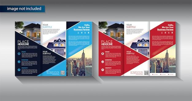 Brochure driebladige bedrijfssjabloon voor promotiemarketing