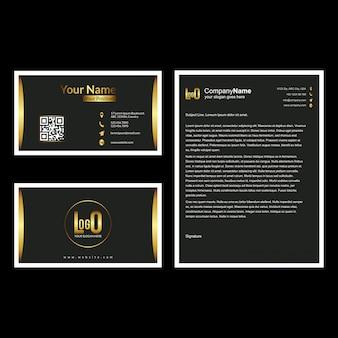 Brochure en visitekaartje instellen met donkere achtergrond vector