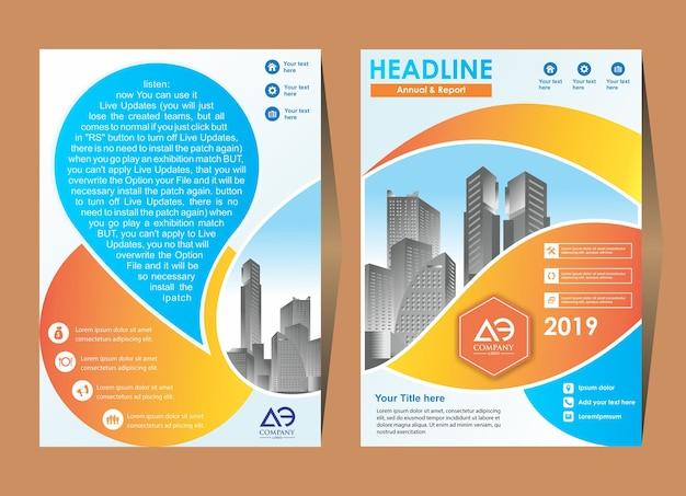 Brochure flyer lay-out sjabloon met elementen en tijdelijke aanduiding