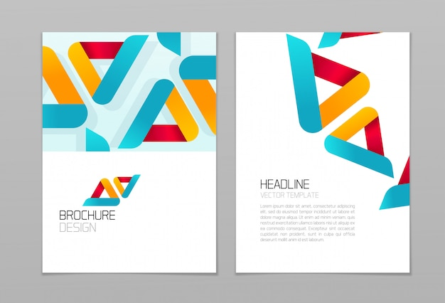 Brochure flyer vector ontwerpsjabloon met zakelijke abstracte vormen