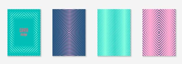 Brochure instellen. retro plakkaat, uitnodiging, notebook, mobiel schermmodel. rood en groen. stel brochure in als minimalistische trendy omslag. lijn geometrisch element.