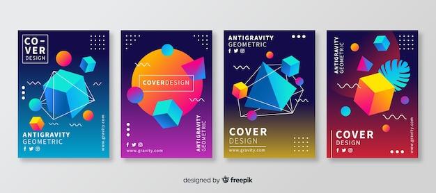 Brochure met drijvende veelhoekige vormen