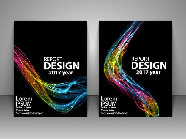 Brochure met futuristische kleurrijke lichtgolf.